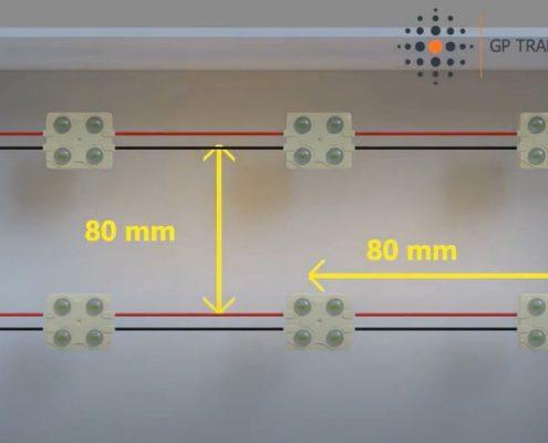 Número de módulos de LED en una caja de luz